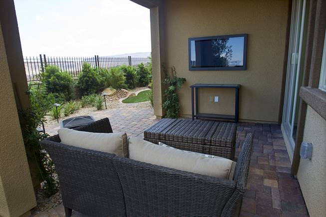 A patio is shown at a one-story plan 1849 model home at KB Homes' Tevare residential development in Summerlin Wednesday, July 30, 2014.