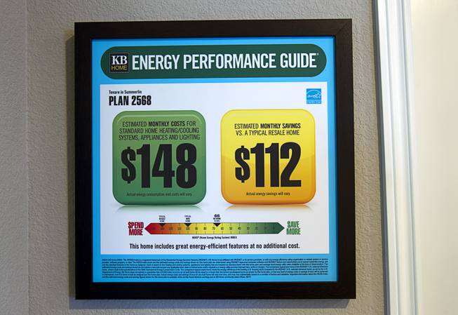 An energy performance guide is shown in a two-story plan 2568 model home at KB Homes' Tevare residential development in Summerlin Wednesday, July 30, 2014.