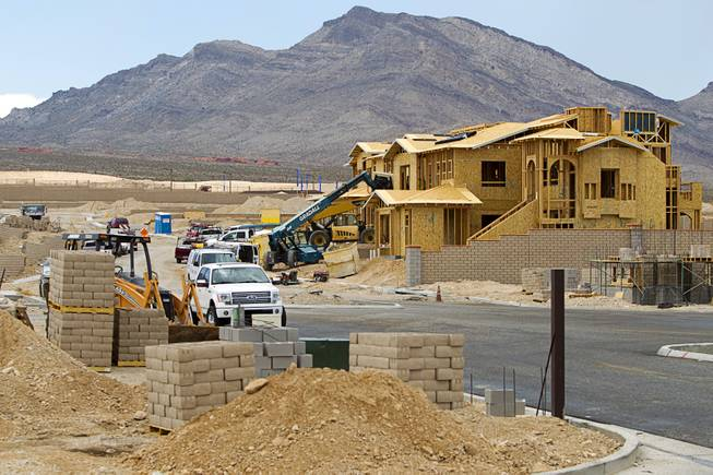 A view of new home construction in Summerlin Wednesday, July 30, 2014.