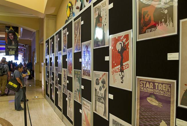 Posters promoting episodes form the original Star Trek series are displayed during the 13th annual Official Star Trek Convention at the Rio Thursday, July 31, 2014. The convention, expected to attract 15,000 Trekkies, runs through Sunday.
