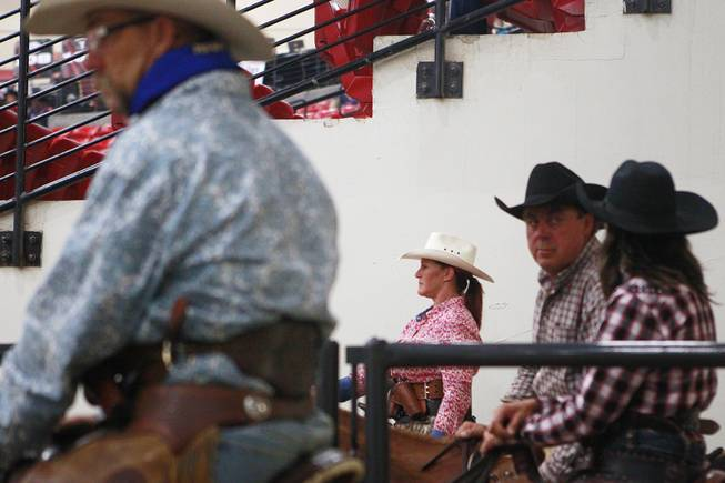 Cowboys and cowgirls wait to compete during the Cowboy Mounted Shooting Association's Western U.S. ChampionshipThursday, July 31, 2014 at the South Point.