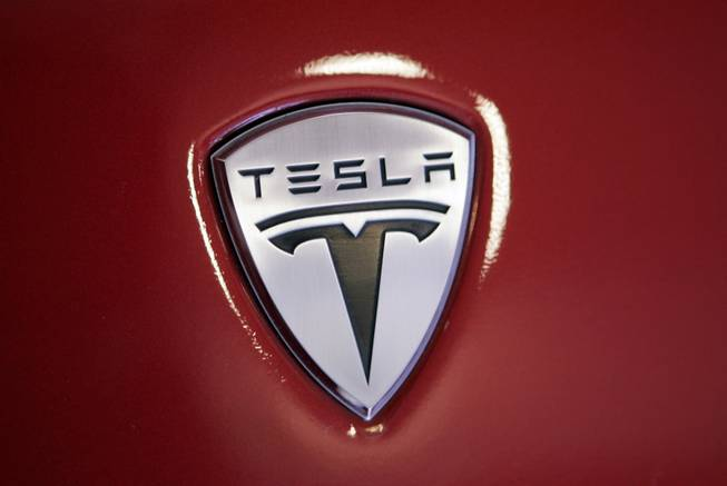 The front of a Tesla sports car at a showroom in Menlo Park, Calif., on Dec. 9, 2008.