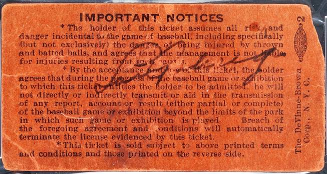 A Yankee Stadium ticket stub signed by Lou Gehrig on July 4, 1939, the day he retired from baseball, is shown. The ticket was sold at an auction by Heritage Auctions of Dallas, Texas on Thursday, July 31, 2014, for $95,600.