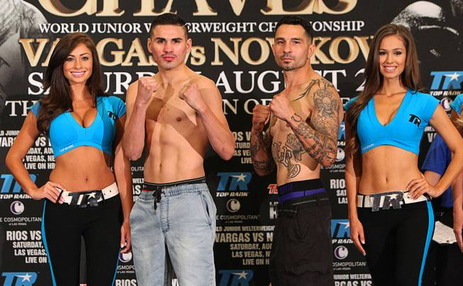 August 1, 2014, Las Vegas,Nevada ---  (L-R) Jose Ramirez and Alfred Romero  weigh in (Ramirez   142.4 lbs , Romero 138.2 lbs) for their fight on Saturday, August 2 in the Chelsea at the Cosmopolitan.