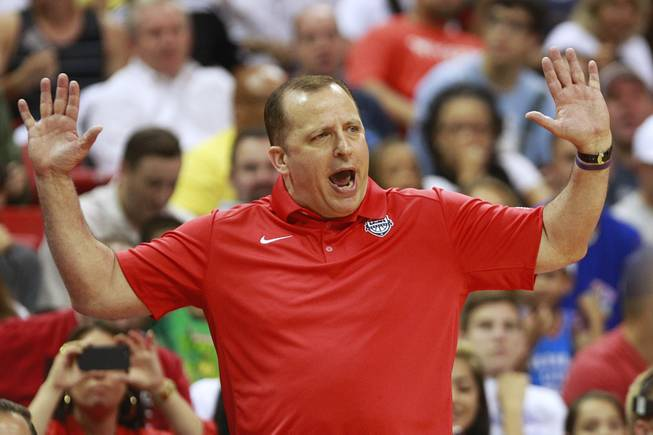 Coach Tom Thibodeau offers an opinion to a referee during the 2014 USA Basketball Showcase Friday, Aug. 1, 2014 at the Thomas & Mack Center.