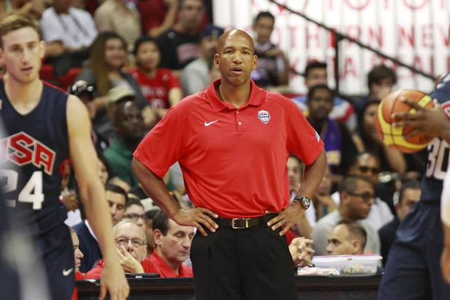 Coach Monty Williams talks to his players during the 2014 USA Basketball Showcase Friday, Aug. 1, 2014 at the Thomas & Mack Center.