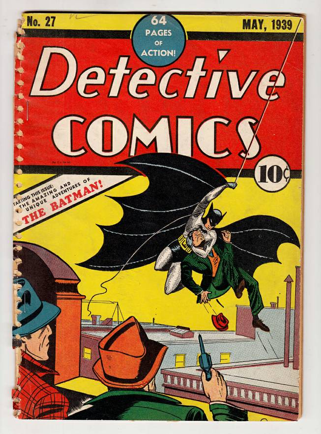 This undated image provided by ComicConnect.com shows a May 1939 copy of Detective Comics, which featured one of the earliest appearances of Batman. The comic is being auctioned online along with a nearly mint copy of the first Incredible Hulk comic book and a 1942 Archie comic book, Archie No. 1, which marked the first time the red-headed character appeared in his own magazine.