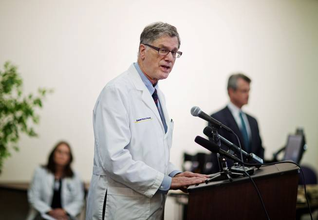 Dr. Bruce Ribner, the Emory University Hospital epidemiologist who oversees the isolation unit at the hospital set up to treat patients exposed to certain infectious diseases, speaks at a news conference, Friday, Aug. 1, 2014, in Atlanta. Ribner said Friday two American aid workers infected with the Ebola virus in Africa will be treated at the hospital.