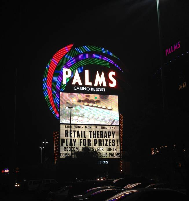 "The marquee at the Palms, absent the ""Maloof Casino Resort"" notation that was displayed prominently on the sign from its opening in November 2001 through May 2014."