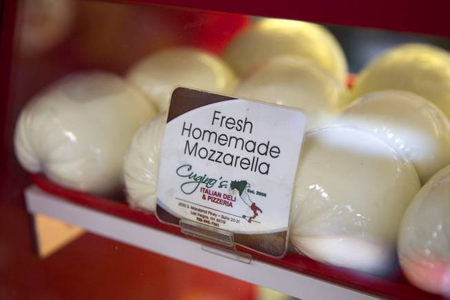 Fresh homemade Mozzarella cheese is offered for sale at Cugino's Italian Deli and Pizzeria, 4550 S Maryland Parkway, Sunday, Aug. 3, 2014.