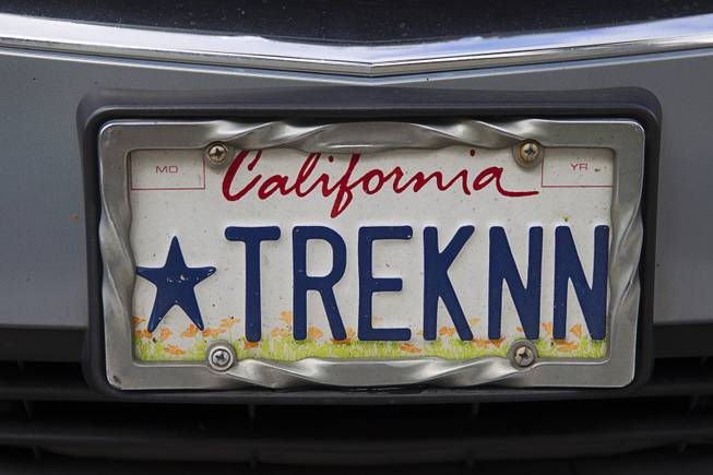 A license plate is shown on an SUV in the Rio parking lot during the final day of the 13th annual Official Star Trek Convention Sunday, Aug. 3, 2014.