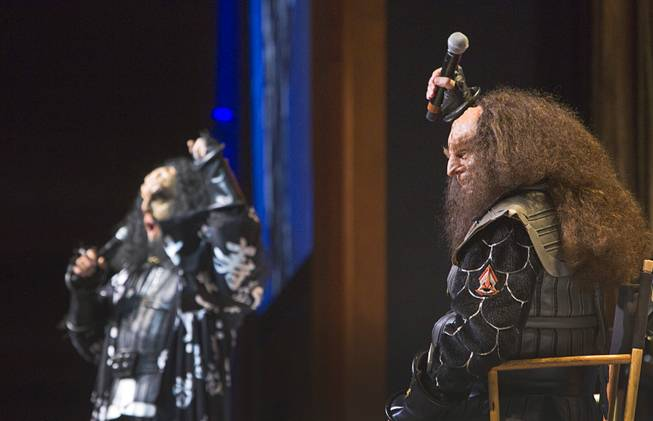 Actors J.G. Hertzler and Robert OReilly (as Klingons Martok and Gowron) perform on stage during the final day of the 13th annual Official Star Trek Convention at the Rio Sunday, Aug. 3, 2014.