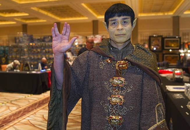 Luis Valentine of Canoga Park, Calif., dressed as .Vulcan Ambassador Soval, poses during the final day of the 13th annual Official Star Trek Convention at the Rio Sunday, Aug. 3, 2014.