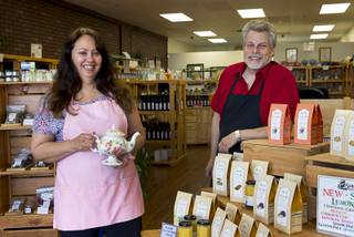 Owners Cheryl and Richard Sheffield pose at Sheffield Spice & Tea Co., 9875 S. Eastern Ave., Monday Aug. 4, 2014.