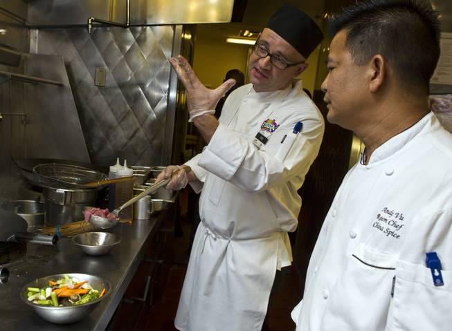 Chefs Ivo Karkaliev and Andy Vu talk about cooking Chinese food for the Cafe Fiesta at Fiesta Henderson on Monday, July 28, 2014.   L.E. Baskow