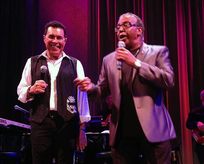 "Clint Holmes, left, performs ""Clickety Clack"" with longtime Vegas singer Ronnie Rose at Cabaret Jazz at the Smith Center on Sunday, Aug. 3, 2014."