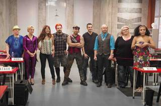 "Season 1 of ""Skin Wars"" on the Game Show Network. Gear Boxxx of Las Vegas is at center."