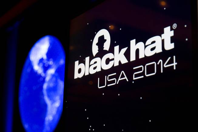 The Black Hat logo is shown on a podium during the Black Hat USA 2014 hacker conference at the Mandalay Bay Convention Center Aug. 6, 2014.