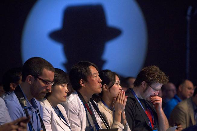 Attendees listen to a keynote address by Dan Greer, chief information security officer for In-Q-Tel, during the Black Hat USA 2014 hacker conference at the Mandalay Bay Convention Center Aug. 6, 2014.