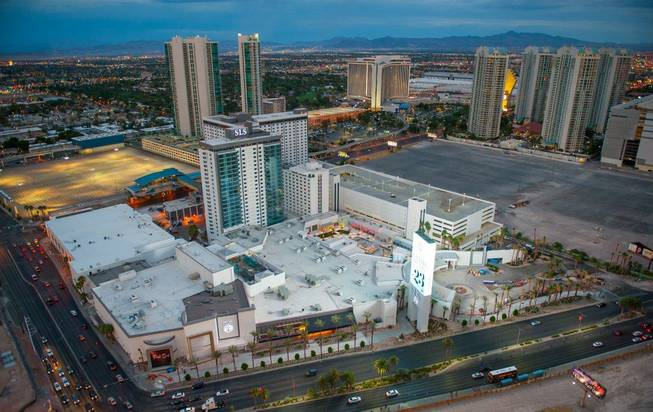 A view of SLS Las Vegas as seen from atop Allure Las Vegas on Friday, July 4, 2014.