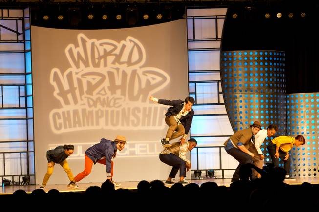 Jukebox Crew of Portugal performs during the preliminary round of the World Hip-Hop Dance Championships at Red Rock Resort, Las Vegas, Wed Aug. 6, 2014.