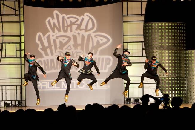Hypnotic Dance Crew of Ecuador performs during the preliminary round of the World Hip-Hop Dance Championships at Red Rock Resort, Las Vegas, Wed Aug. 6, 2014.