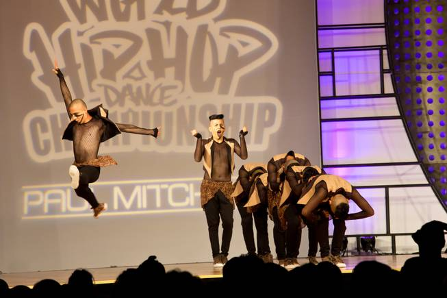 Peruvian dance crew Varom performs during the preliminary round of the World Hip-Hop Dance Championships at Red Rock Resort, Las Vegas, Wed Aug. 6, 2014.