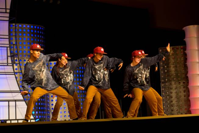 German dance crew Juvenile Maze performs during the preliminary round of the World Hip-Hop Dance Championships at Red Rock Resort, Las Vegas, Wed Aug. 6, 2014.