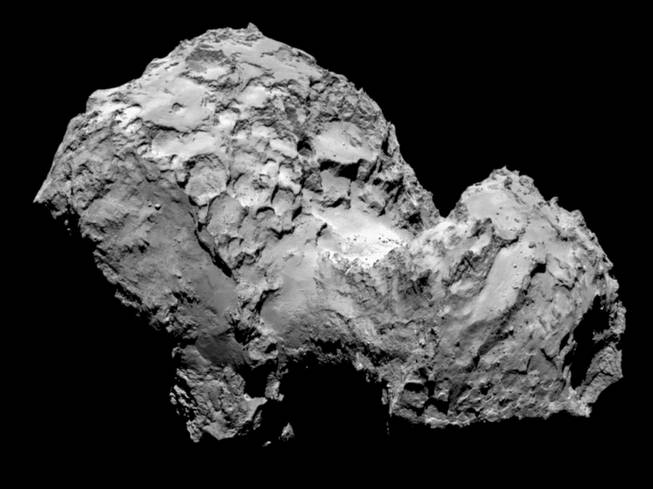 In this picture taken on Aug. 3, 2014, by Rosetta's OSIRIS narrow-angle camera, Comet 67P/Churyumov-Gerasimenko is pictured from a distance of 285 kilometers.