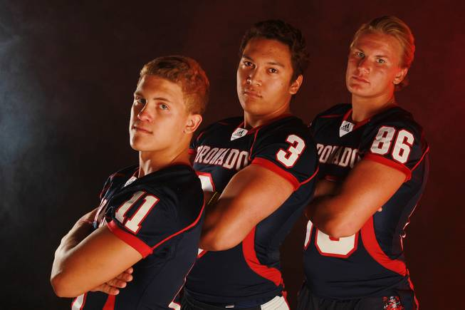 From left, Coronado High School football  players Tanner Gorski, Jordan Rude and Justin Belknap July 21, 2014.