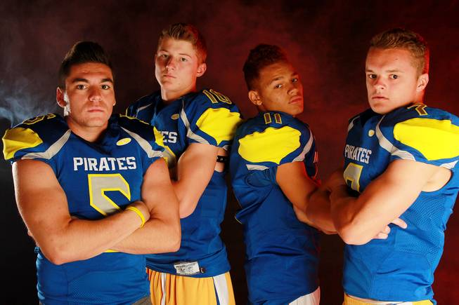From left,  Moapa Valley High School football  players Andrew Huerta, Zach Hymas, Cole Mulcock and R.J. Hubert July 21, 2014.