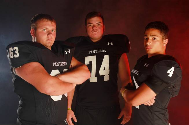 From left, Palo Verde High School football  players Joey Laurita, Daniel Heller and Darrion Finn July 21, 2014.