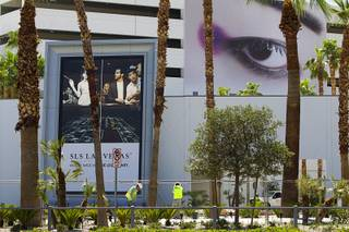 An eye appears to keep watch on landscapers at the SLS Las Vegas Thursday, August 7, 2014. The new resort, formerly the Sahara, will open on August 23.