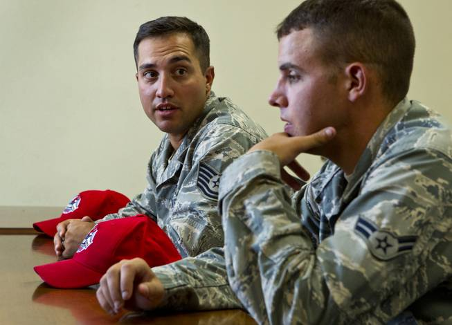 U.S. Air Force TSgt Adam Dixon and A1C Christopher Fitzgerald recount the story of recently helping save an elderly couple from possibly drowning during flash flooding and are currently based at Nellis Air Force Base on Friday, August 8, 2014.