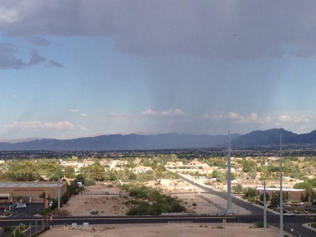 Rain falls Saturday, Aug. 9, 2014, in the southeast Las Vegas Valley. This image was taken looking east from the 8200 block of Las Vegas Boulevard South.
