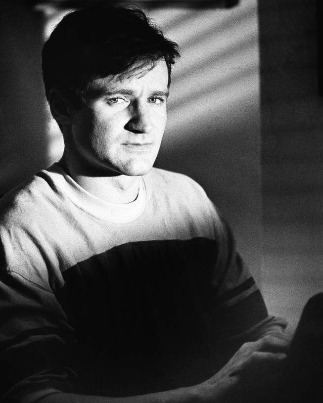 "Actor Robin Williams in September 1982 in character as T.S. Garp, a New England wrestler turned writer whose off-beat adventures unfold in ""The World According to Garp,"" a Warner Bros. release also starring Mary Beth Hurt, Glenn Close and John Lithgow."