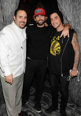 Executive chef Barry S. Dakake, left, of N9NE Steakhouse in the Palms with Brody Jenner and Tal Cooperman.