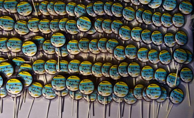 A pile of Paper Plane Palooza cookie pops awaits the participants following the competition at McCarran International Airport on Tuesday, August 12, 2014.
