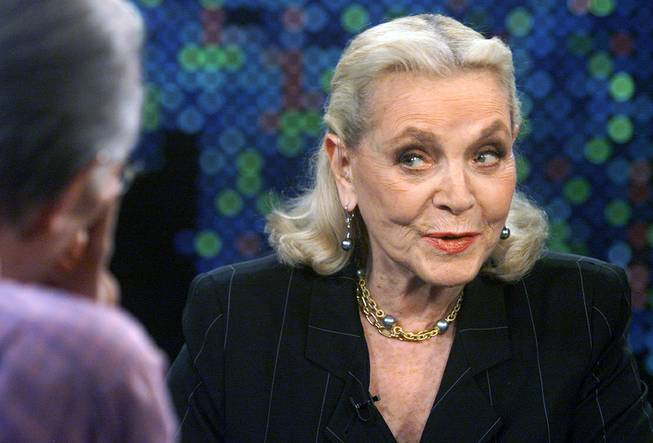 "Actress Lauren Bacall speaks during a taped interview with talk show host Larry King on the CNN program ""Larry King Live"", at the CNN studios in Los Angeles March 16, 2005. The program, set for telecast, Friday, May 6, 2005, features Bacall discussing her career and her new book ""Lauren Bacall By Myself and Then Some."""