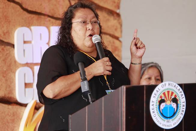 Hualapai tribal chairwoman Sherry Counts speaks during the official opening of the newly paved section of Diamond Bar Road leading to Grand Canyon West Tuesday, Tuesday, Aug. 12, 2014.