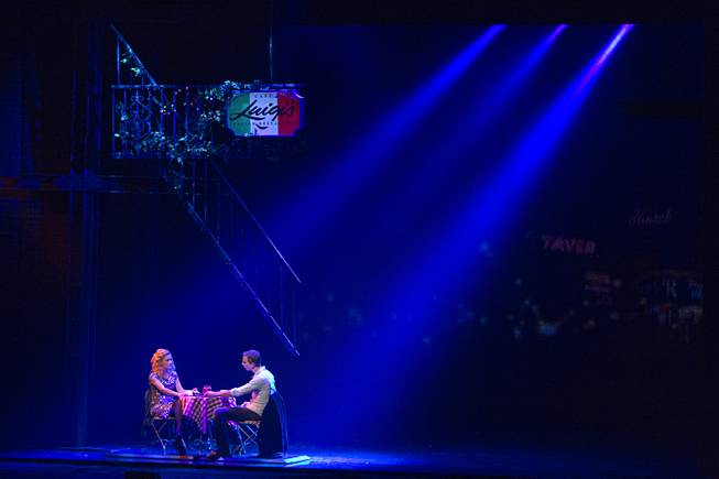 "Molly (Katie Postotnik) and Sam (Steven Grant Douglas) have dinner at a restaurant during ""Ghost The Musical"" at the Smith Center for the Performing Arts on Wednesday, Aug. 13, 2014, in downtown Las Vegas."