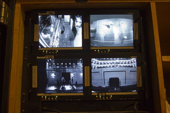 "Video monitors are shown at the stage manager's console during a backstage tour of ""Ghost The Musical"" at the Smith Center for the Performing Arts on Wednesday, Aug. 13, 2014, in downtown Las Vegas. The musical runs through Sunday, Aug. 17."