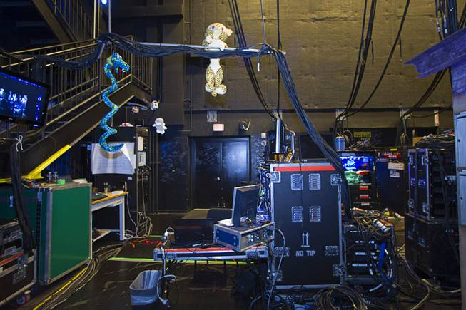 "A stuffed animal hangs from cables by a video control center during a backstage tour of ""Ghost The Musical"" at the Smith Center for the Performing Arts Wednesday Aug. 13, 2014. The musical runs through Sunday, Aug. 17."