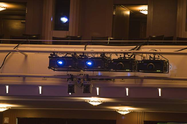 "Projectors are shown in the back of Reynolds Hall during a backstage tour of ""Ghost The Musical"" at the Smith Center for the Performing Arts Wednesday Aug. 13, 2014. The musical runs through Sunday, Aug. 17."