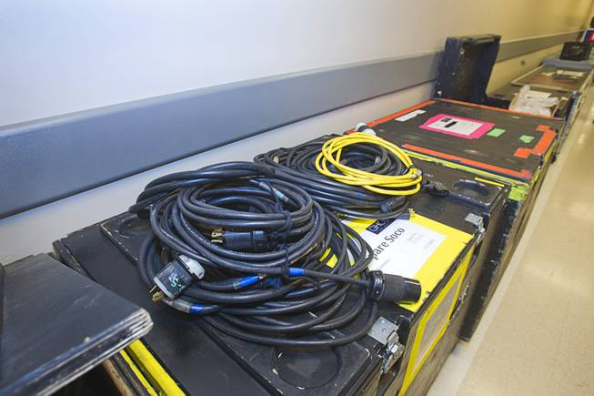"Extra cables are shown in a hall during a backstage tour of ""Ghost The Musical"" at the Smith Center for the Performing Arts Wednesday Aug. 13, 2014. The production uses 27 miles of cables and travels in six tractor trailers, said head carpenter Jamie Kurtz. The musical runs through Sunday, Aug. 17."