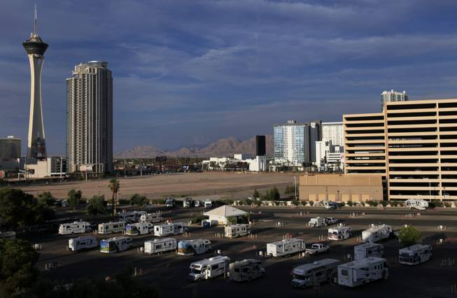 Located on a corner of the Circus Circus parking lot, the KOA campground represents one of the most bizarre accommodations in Las Vegas, offering wayfarers a place to park their road-weary RVs within walking distance of a galaxy of gambling temples and a nonstop street scene.