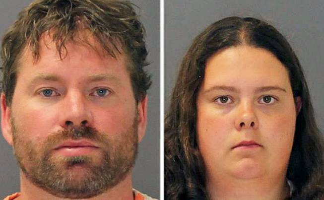 These images show the booking photos of Stephan Howells II, 39, and Nicole Vaisey, 25, who were arraigned late Friday Aug. 15, 2014, on charges they intended to physically harm or sexually abuse two Amish sisters after abducting them from a roadside farm stand.