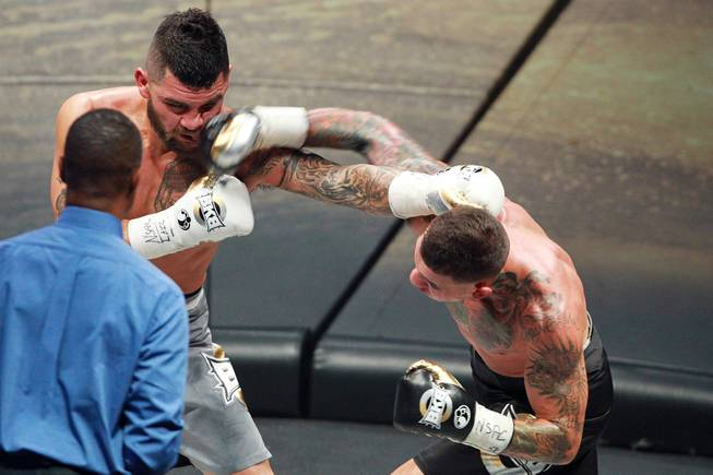 Gabe Rosado hits Bryan Vera with a right during their fight on the inaugural card of Big Knockout Boxing Saturday, Aug. 16, 2014 at the Mandalay Bay Events Center. Rosado won by TKO.