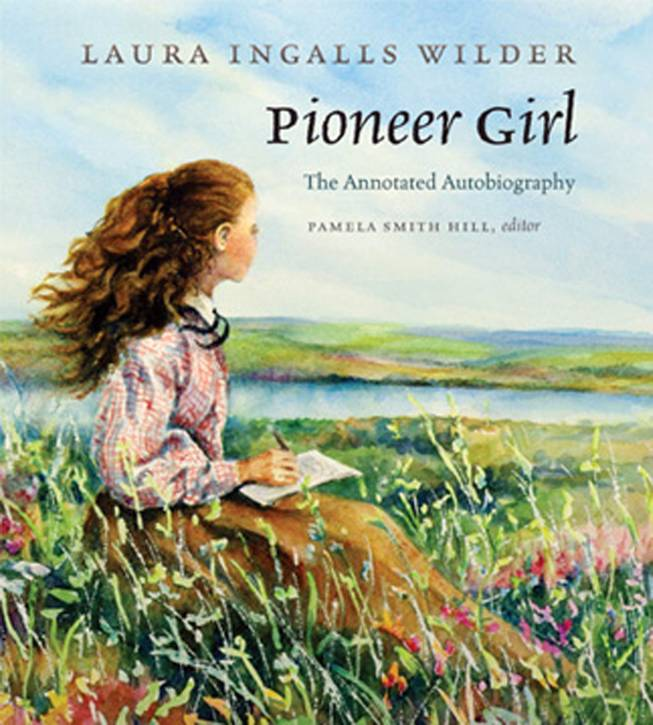 "This undated image provided by the South Dakota Historical Society Press shows Judy Thompson's illustration of the cover of ""Pioneer Girl: The Annotated Autobiography"". The original version of the autobiography, that Wilder likely wrote in the late 1920s, was written on tablet paper with lead pencil. The South Dakota State Historical Society Press plans to publish an annotated version of this fall."