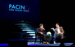 Al Pacino and host John Katsilometes of the Las Vegas Sun on Saturday, Aug. 16, 2014, at the Mirage.